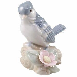 George Good Blue Jay Figurine Porcelain Bird On Log Pink Flower Taiwan Vintage