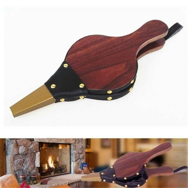 Traditional Bellows Brown Fireplace Blower Stove Fire Handmade Fan BBQ Outdoor,