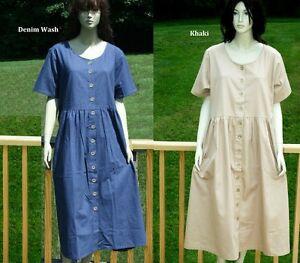 PLUS SIZE SHORT SLEEVE DENIM DRESS S M L BLUE KHAKI | eBay