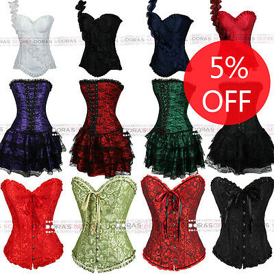 Women Sexy Waist Overbust spiral boned lace up Corset bustier For Chrimas Party