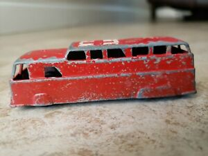 Vintage-Collectible-MIDGETOY-ROCKFORD-IL-USA-Red-Bus-Car-Vehicle-Hospital-Red