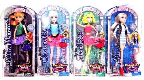 Fairy Tale High 4 Dolls Cinderella Ariel Tinker Belle /& Alice New