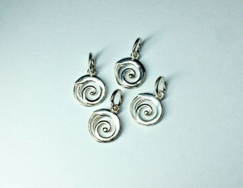 1 of 925 Sterling Silver spiral swirl wave charm 9mm for jewellery making