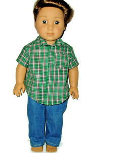 Jeans & Plaid Shirt doll clothes for Boys fits American Girl Boy dolls  Green