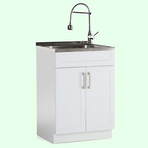 Image Is Loading UTILITY SINK COMBO FREE STANDING CABINET Laundry Room
