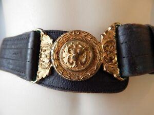 Antique c 1900s Victorian Black Leather Belt Navy Brass ...