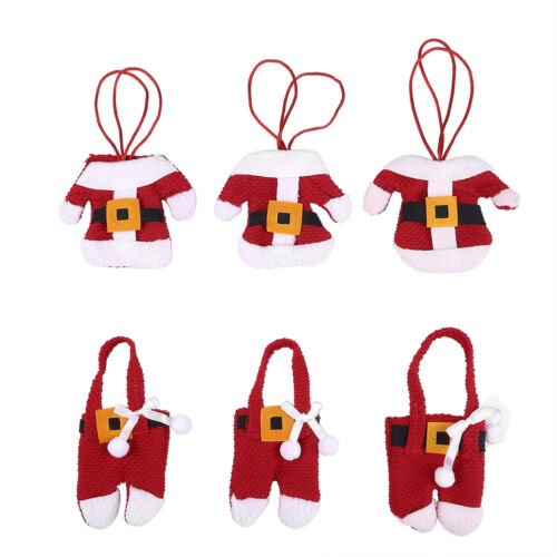 6x Santa Suit Christmas Cutlery holder tableware Silverware bag Decorations NEW