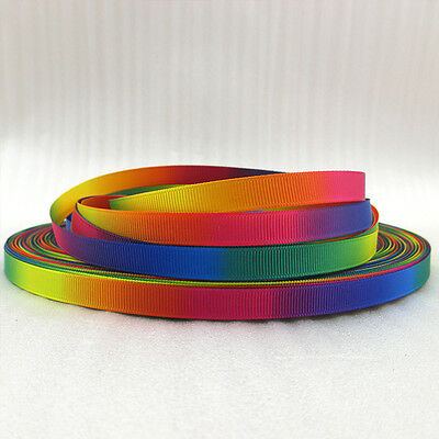 """3/8"""" DoubleSide Rainbow Grosgrain polyester ribbon DIY Hairbow sewing 5/50Yards"""