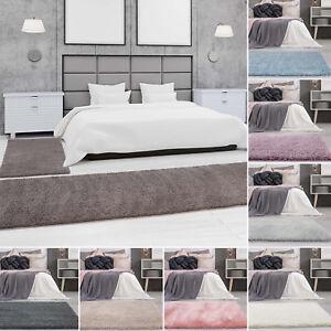 Details zu Bettumrandung Shaggy Micro Polyester Teppich-Läufer Einfarbig  Uni Schlafzimmer