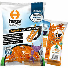 Hegs Pack of 18 Clothes Pegs Smart Dual Hook Clothespins Laundry Hanger Orange