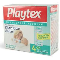 Playtex Pre-sterilized Disposable Bottles 4 Ounce Sure Hold Grip Tabs Strongest