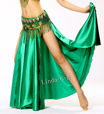 Professional Hot Sexy belly dance Costume Saint Skirt 2-side slits skirt 2/3