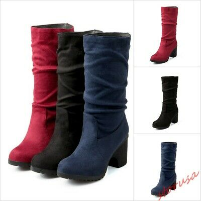 Ladies Mid Calf Boots Slouch Buckle Stilettos Heels Pull on Casual Shoes UK Size