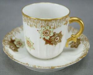 Haviland Limoges H532 Green Floral & Gold Demitasse Cup & Saucer C. 1888-1930