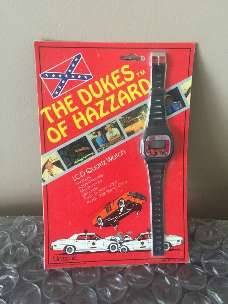 VINTAGE 1981 THE DUKES OF HAZZARD LCD QUARTZ WATCH UNOPENED 1980'S TV TOY