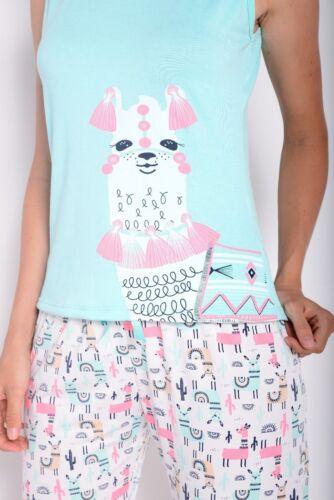 Sleepwear for women Llama print tank top in mint and long pants Pajama set