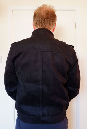"""Upright Black With Collar 44 44"""" Men's Jacket motociclista Biker Style Bomber bomber Effect Suede stile da Giacca BYqZCZ"""
