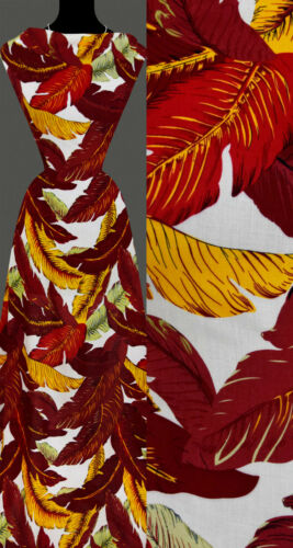 50cm STOFF VISKOSE Blätter tropisch Natur Muster Palmblätter weiß 13,20 €//m