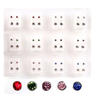 24pcs Ear Piercing Stud Earrings Piercing Tool Kits Surgical Steel Ear Studs New