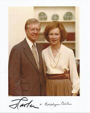 Hand Signed 8x10 photo US President JIMMY CARTER & Rosalynn - Reagan + my COA