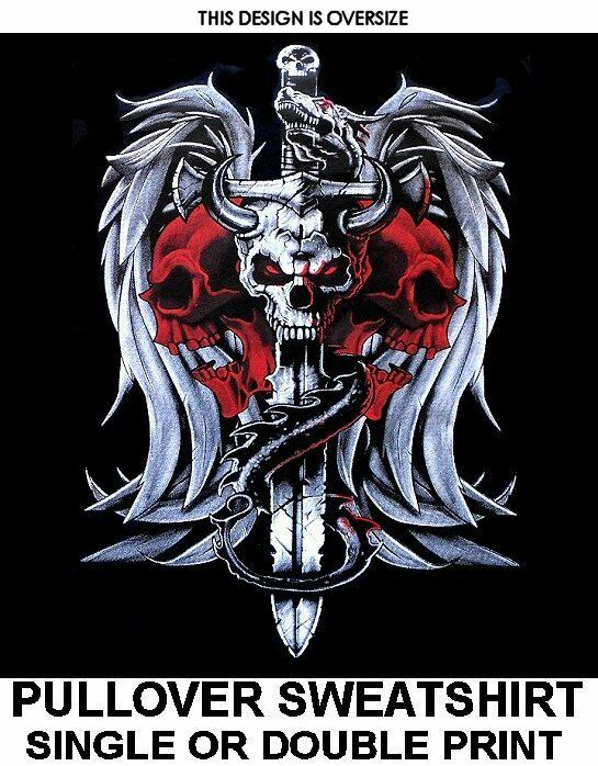 DRAGON WINGS SWORD SKULL HORNS GOTH BIKER EVIL MEDIEVAL DEMONIC SWEATSHIRT X82