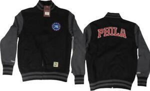 New Philadelphia 76ers Mens Sizes S-M Mitchell & Ness Black Full Zip Jacket
