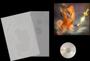 Airbrush-Schablone-Step-by-Step-Stencil-Frau-357-Kriegerin-Tattoo-amp-CD