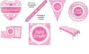 Rosa-Bambina-Baby-Shower-Party-Supplies-Stoviglie-Decorazioni-Ragazza-Partyware