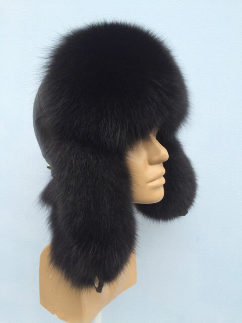 234c3583e547a Fox Fur Ushanka Hat With Leather. Saga Furs by Zeno Furs. Aviator Trapper  Hat.