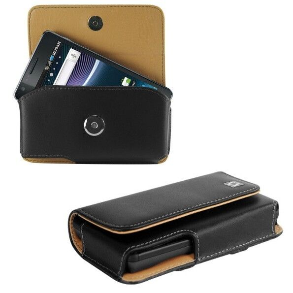 Leather Horizontal Carry Case Pouch Holder for Small Phones. +Holster Belt Clip