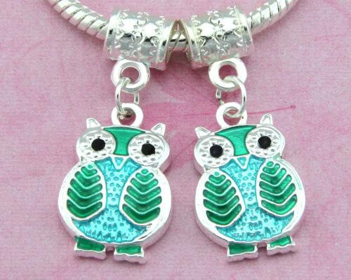 Wholesale 50pcs Silver Plated Owl Dangle Charms Enamel Fit Bracelet FreeShip E13