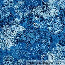 BonEful Fabric FQ Cotton Quilt Blue Navy Denim Lace L Swirl Flower Toile Paisley