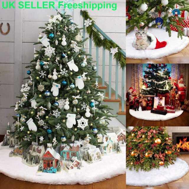 info for a8792 7c433 90cm White Christmas Tree Skirt Skirts Decorations Plush Xmas Base Floor  Mat UK