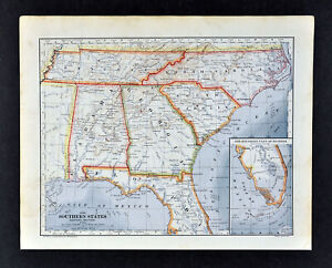 Map Of Georgia Tennessee And South Carolina.Detalles Acerca De 1896 Mathews Northrup Mapa Florida Georgia Alabama Tennessee North Carolina Del Sur Mostrar Titulo Original
