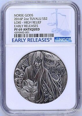 NORSE GODS LOKI 2016 TUVALU 2oz  SILVER COIN $2 HIGH RELIEF PF 69 ANTIQUED ER