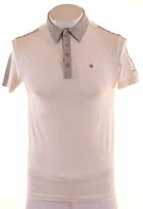 CALVIN-KLEIN-Mens-Polo-Shirt-Small-Beige-Cotton-Slim-NE29