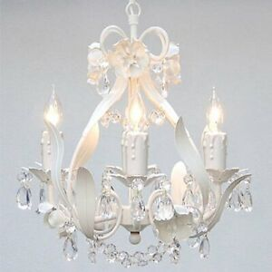 Details About Wrought Iron Crystal Chandelier Lighting Country French White Ceiling Fixture