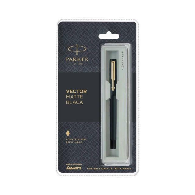 Fine Nib 0.8mm Blue Ink Parker Vector Matte Black Ball Point Pen GT Gold Trim