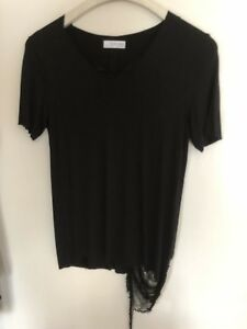 1126666df2 Details about New Zara Men Rare Black Destroyed Made In Portugal T-shirt XL