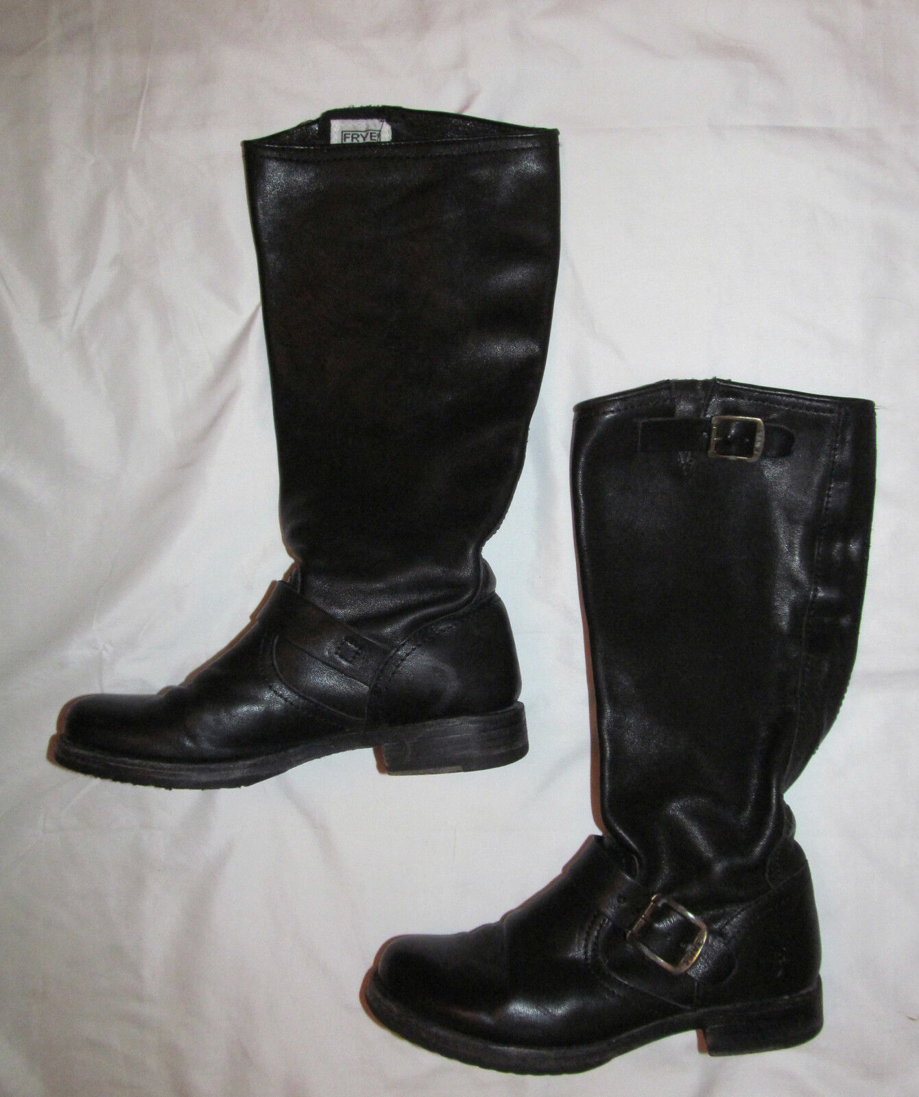 FRYE VERONICA soft leather straps buckles  biker moto tall pull on  Stiefel 6 M