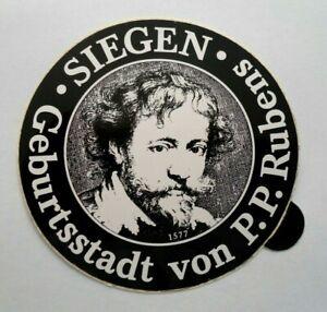 Souvenir-Aufkleber Siegen Hometown From P.P.Rubens Arnsberg NRW 80er