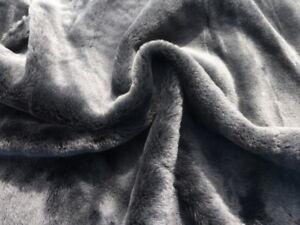 sheepskin shearling leather hide Large Dark Grey silky hair w/Black Suede back