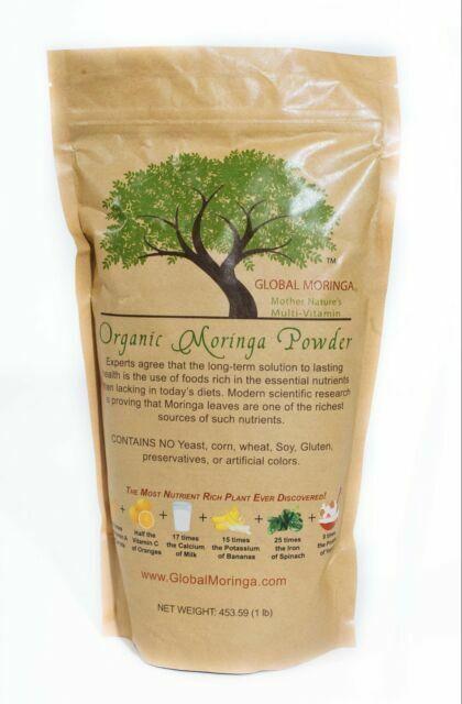 Organic Moringa Powder Green Leaf Oleifera 100 Pure Natural 1lb 16 Oz