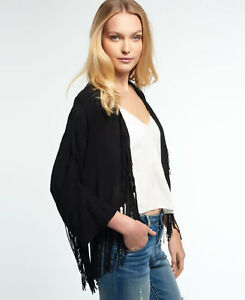 New Womens Superdry Lacy Fringed Kimono Top Black