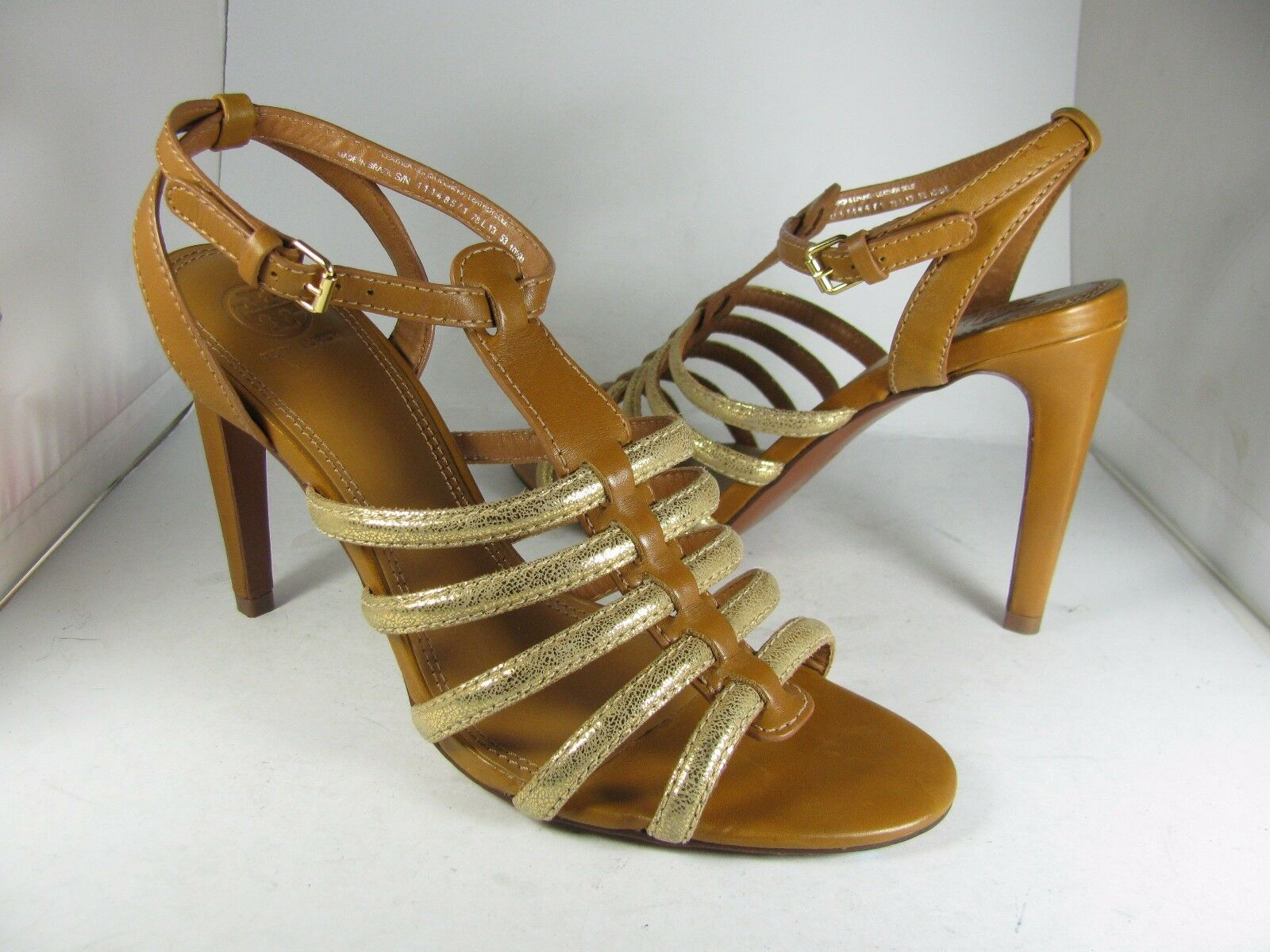 Sz 10.5 NEW TORY BURCH Womens sandals High Heel Brown  gold Gladiator Charlene