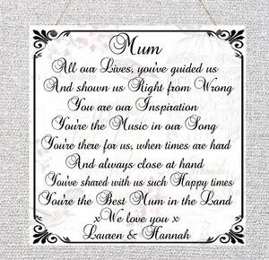 Détails Sur Plaque Personnalisée La Fête Des Mères Poème Anniversaire Maman Grand Mère Nounou Cadeau Maison Afficher Le Titre Dorigine