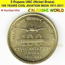 100 YEARS CIVIL AVIATION INDIA 1911-2011 Nickel-Brass Rs 5 UNC # 1 Coin