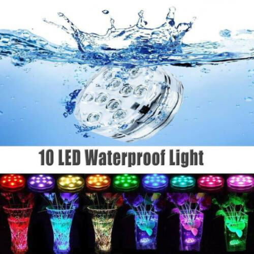 RGB Submersible Swimming Pool Hot Tub SPA Lamp IR Remote Pond Light 10LED