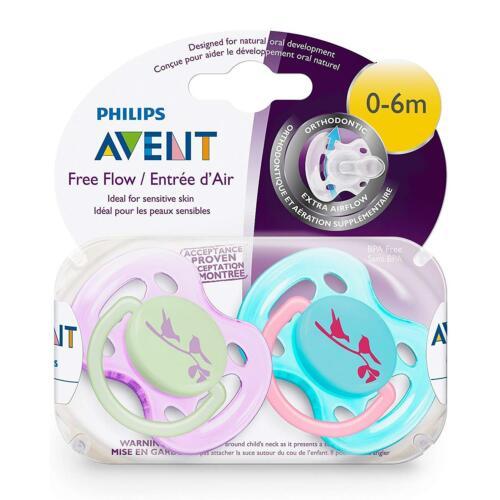 PHILIPS AVENT Freeflow Bébé Sucettes Sucette 0-6 m Tétine Assortiment De Couleurs Pack De 2
