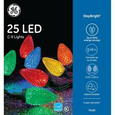 GE StayBright 25 LED Multi-color C9 Lights Green Wire Indoor/Outdoor